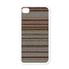 Stripy Knitted Wool Fabric Texture Apple Iphone 4 Case (white)