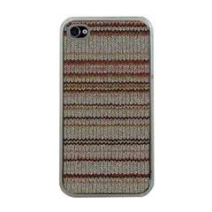 Stripy Knitted Wool Fabric Texture Apple Iphone 4 Case (clear)