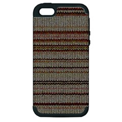 Stripy Knitted Wool Fabric Texture Apple Iphone 5 Hardshell Case (pc+silicone)