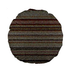 Stripy Knitted Wool Fabric Texture Standard 15  Premium Round Cushions