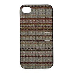 Stripy Knitted Wool Fabric Texture Apple Iphone 4/4s Hardshell Case With Stand