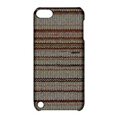 Stripy Knitted Wool Fabric Texture Apple Ipod Touch 5 Hardshell Case With Stand