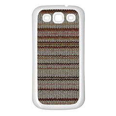 Stripy Knitted Wool Fabric Texture Samsung Galaxy S3 Back Case (white)