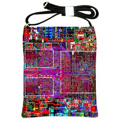 Technology Circuit Board Layout Pattern Shoulder Sling Bags