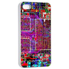 Technology Circuit Board Layout Pattern Apple Iphone 4/4s Seamless Case (white)