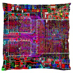 Technology Circuit Board Layout Pattern Large Cushion Case (one Side)
