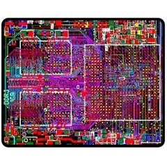Technology Circuit Board Layout Pattern Double Sided Fleece Blanket (medium)