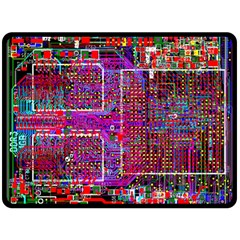 Technology Circuit Board Layout Pattern Double Sided Fleece Blanket (large)