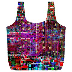 Technology Circuit Board Layout Pattern Full Print Recycle Bags (l)