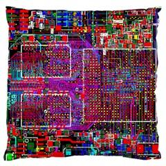 Technology Circuit Board Layout Pattern Standard Flano Cushion Case (one Side)