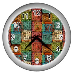 Stract Decorative Ethnic Seamless Pattern Aztec Ornament Tribal Art Lace Folk Geometric Background C Wall Clocks (silver)