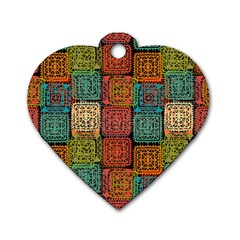 Stract Decorative Ethnic Seamless Pattern Aztec Ornament Tribal Art Lace Folk Geometric Background C Dog Tag Heart (two Sides)