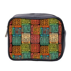 Stract Decorative Ethnic Seamless Pattern Aztec Ornament Tribal Art Lace Folk Geometric Background C Mini Toiletries Bag 2 Side