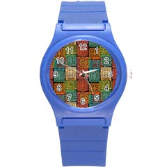 Stract Decorative Ethnic Seamless Pattern Aztec Ornament Tribal Art Lace Folk Geometric Background C Round Plastic Sport Watch (s)