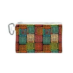Stract Decorative Ethnic Seamless Pattern Aztec Ornament Tribal Art Lace Folk Geometric Background C Canvas Cosmetic Bag (s)