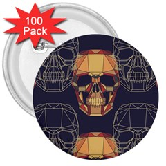 Skull Pattern 3  Buttons (100 Pack)