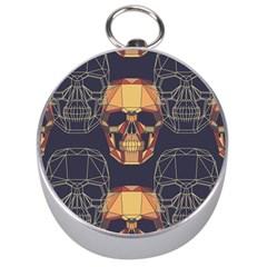 Skull Pattern Silver Compasses