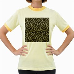 Skull Halloween Background Texture Women s Fitted Ringer T Shirts