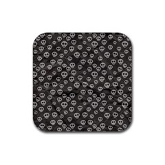 Skull Halloween Background Texture Rubber Square Coaster (4 Pack)