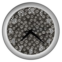 Skull Halloween Background Texture Wall Clocks (silver)