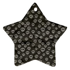 Skull Halloween Background Texture Star Ornament (two Sides)