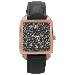 Skull Halloween Background Texture Rose Gold Leather Watch