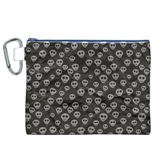 Skull Halloween Background Texture Canvas Cosmetic Bag (xl)