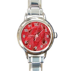 Red Peacock Floral Embroidered Long Qipao Traditional Chinese Cheongsam Mandarin Round Italian Charm Watch