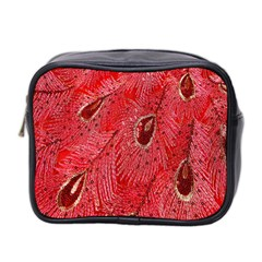 Red Peacock Floral Embroidered Long Qipao Traditional Chinese Cheongsam Mandarin Mini Toiletries Bag 2 Side