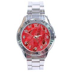 Red Peacock Floral Embroidered Long Qipao Traditional Chinese Cheongsam Mandarin Stainless Steel Analogue Watch