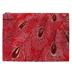 Red Peacock Floral Embroidered Long Qipao Traditional Chinese Cheongsam Mandarin Cosmetic Bag (xxl)