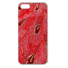 Red Peacock Floral Embroidered Long Qipao Traditional Chinese Cheongsam Mandarin Apple Seamless Iphone 5 Case (clear)