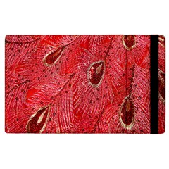 Red Peacock Floral Embroidered Long Qipao Traditional Chinese Cheongsam Mandarin Apple Ipad 3/4 Flip Case