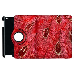 Red Peacock Floral Embroidered Long Qipao Traditional Chinese Cheongsam Mandarin Apple Ipad 3/4 Flip 360 Case