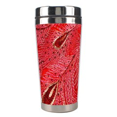 Red Peacock Floral Embroidered Long Qipao Traditional Chinese Cheongsam Mandarin Stainless Steel Travel Tumblers