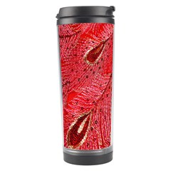 Red Peacock Floral Embroidered Long Qipao Traditional Chinese Cheongsam Mandarin Travel Tumbler