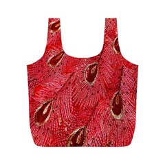 Red Peacock Floral Embroidered Long Qipao Traditional Chinese Cheongsam Mandarin Full Print Recycle Bags (m)
