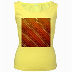 Red Batik Background Vector Women s Yellow Tank Top