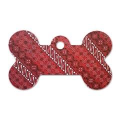 Red Batik Background Vector Dog Tag Bone (one Side)