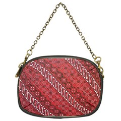 Red Batik Background Vector Chain Purses (one Side)