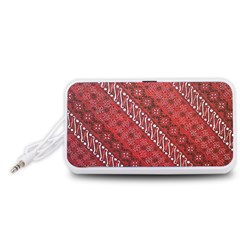 Red Batik Background Vector Portable Speaker (white)