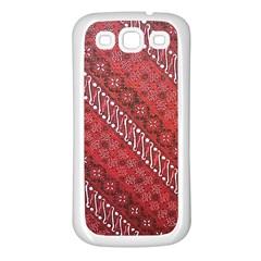 Red Batik Background Vector Samsung Galaxy S3 Back Case (white)