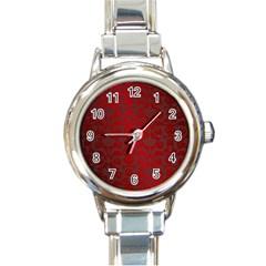 Red Dark Vintage Pattern Round Italian Charm Watch