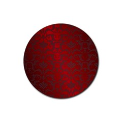 Red Dark Vintage Pattern Rubber Round Coaster (4 Pack)