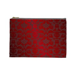 Red Dark Vintage Pattern Cosmetic Bag (large)