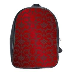 Red Dark Vintage Pattern School Bags(large)