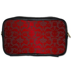 Red Dark Vintage Pattern Toiletries Bags 2 Side