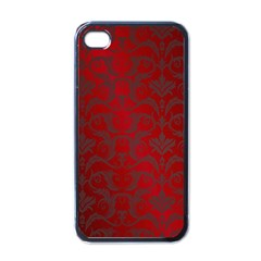 Red Dark Vintage Pattern Apple Iphone 4 Case (black)