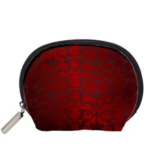 Red Dark Vintage Pattern Accessory Pouches (small)
