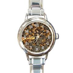Queen Cup Honeycomb Honey Bee Round Italian Charm Watch